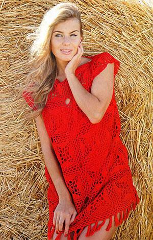 красное платье из квадратных мотивов модели вязания крючком