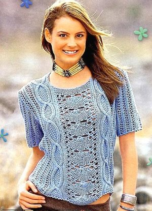 Вязаный голубой пуловер