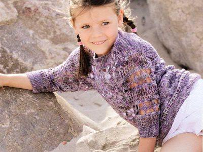 Пуловер с ажурными дорожками