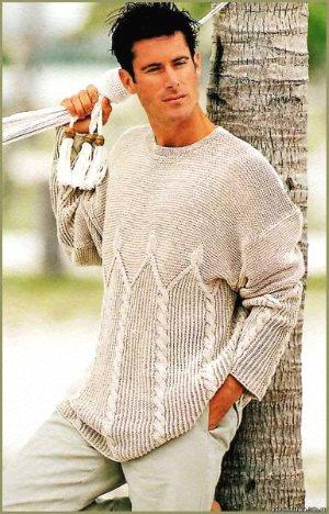 Светло-серый мужской пуловер